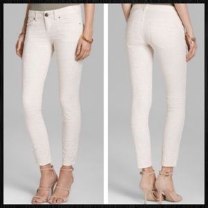 Jacuard Skinny Jeans In Cream by Free People